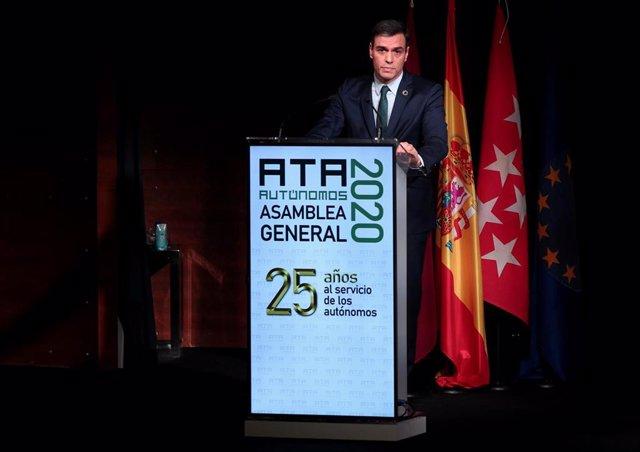 El presidente del Gobierno, Pedro Sánchez, interviene en el acto de clausura de la Asamblea de elecciones de la Asociación de Trabajadores Autónomos, en Madrid (España), a 9 de marzo de 2020.