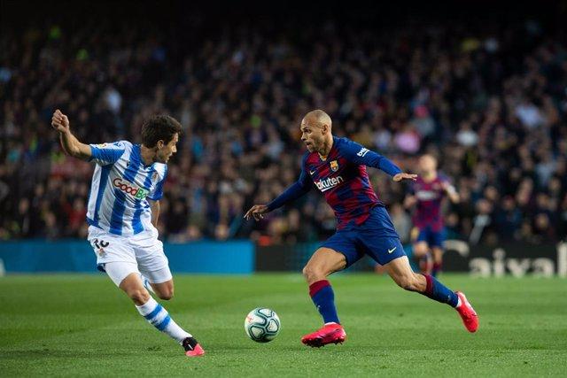 Martin Braithwaite del FC Barcelona en un partit de Lliga contra la Reial Societat al Camp Nou.