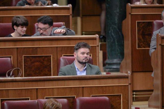 El portaveu d'ERC al Congrés, Gabriel Rufián, durant una sessió plenària al Congrés dels Diputats, Madrid (Espanya), 18 de febrer del 2020.
