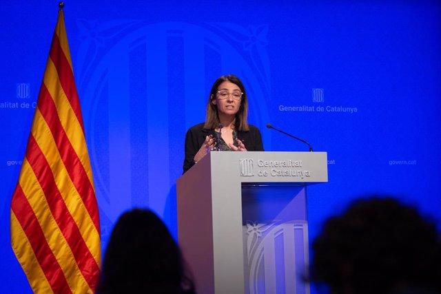 La consellera de la Presidncia i portaveu del Govern, Meritxell Budó, en roda de premsa posterior al Consell Executiu al Palau de la Generalitat, Barcelona (Espanya), 18 de febrer del 2020.