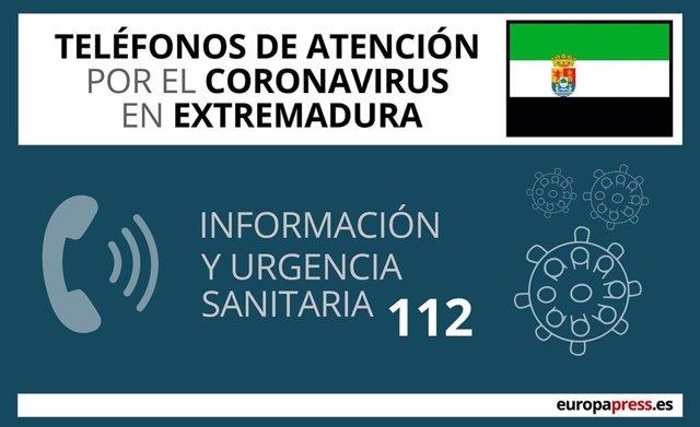 Teléfonos de atención por el coronavirus en Extremadura
