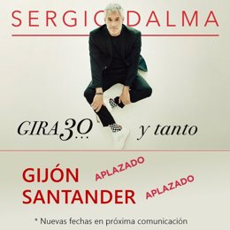 Cartel anunciador del aplazamiento de conciertos de Sergio Dalma