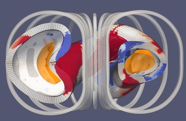 Imagen esquemática de estellarador de imán permanente con plasma en amarillo. Rojo y azul indican imanes permanentes con bobinas simplificadas que rodean el recipiente.