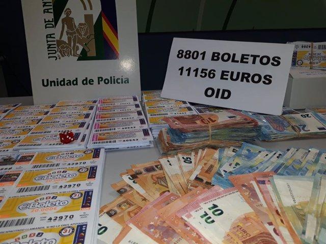 Dinero y boletos intervenidos por la Policía Adscrita