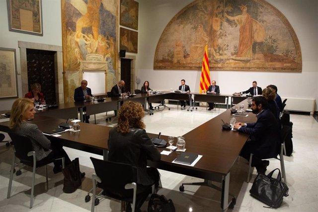 El president de la Generalitat, Quim Torra, presideix una reunió extraordinària del Consell Executiu per analitzar l'evolució del coronavirus, a Barcelona/Catalunya (Espanya) a 12 de març de 2020 (arxiu)