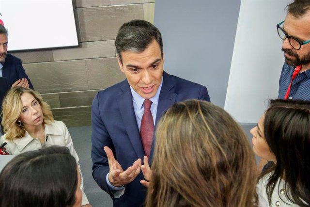 Pedro Sánchez parla sobre la situació del coronavirus en una imatge d'arxiu.