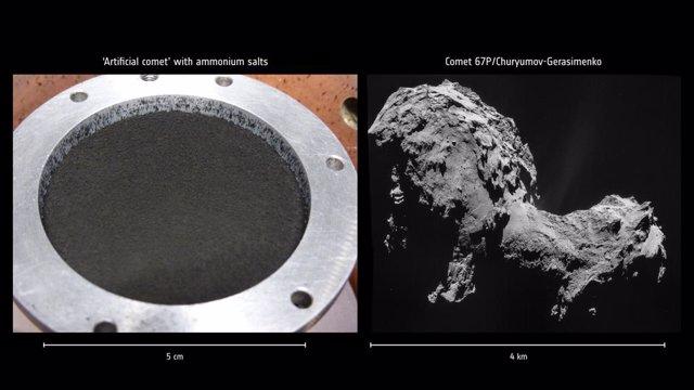 Sales de amonio revelan un depósito de nitrógeno no previsto en cometas