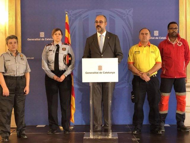 El conseller d'Interior, Miquel Buch, en la roda de premsa després del Procicat