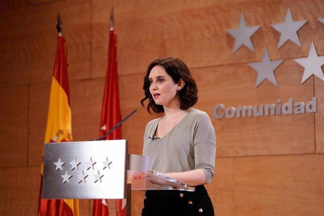 Recopilación Con El Documento De La Declaración De Isabel Díaz Ayuso, Presidenta De La Comunidad De Madrid, Fotos, Enlace A Video Y Audio