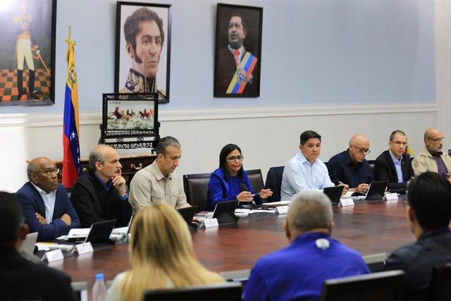 Reunion de emergencia sobre el coronavirus del Gobierno venezolano en Caracas