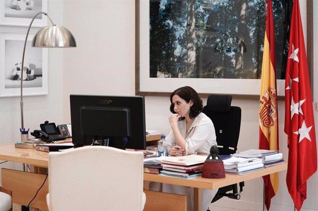 Foto recurso la presidenta de la Comunidad, Isabel Díaz Ayuso, en la videoconferencia de dirigentes autonómicos con el presidente, Pedro Sánchez.