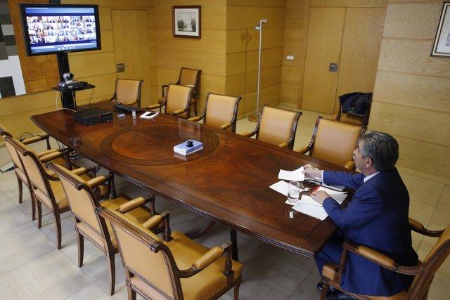 Revilla en la videoconferencia de Pedro Sánchez con presidentes autonómicos