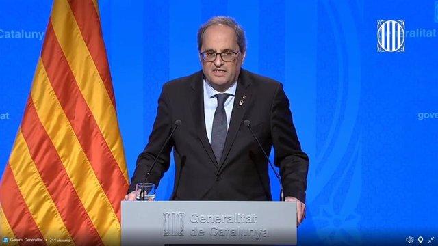 Rueda de prensa telemática del presidente de la Generalitat, Quim Torra, sobre el coronavirus