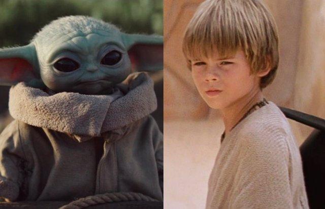 Baby Yoda y Anakin Skywalker