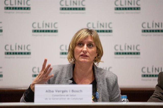 La consejera de Sanidad de Cataluña, Alba Vergés, durante su comparecencia para abordar la evolución del coronavirus, en el Hospital Clínic de Barcelona/Catalunya (España), a 12 de febrero de 2020.