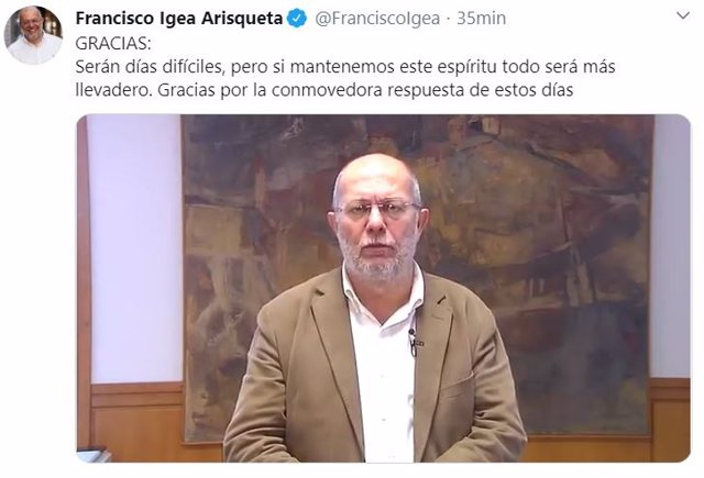 Captura de imagen del vídeo publicado por Francisco Igea