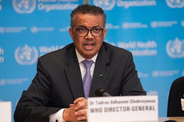 El director general de la Organización Mundial de la Salud (OMS), Tedros Adhanom Ghebreyesus,  en la conferencia de prensa sobre COVID-19 - 9 de marzo de 2020