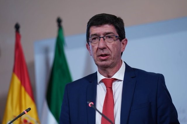 El vicepresidente de la Junta, Juan Marín, en rueda de presa tras Consejo de Gobierno extraordinario por coronavirus (Foto de archivo).