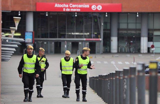 Militares de la UME se desplegan en Madrid el 15 de marzo de 2020