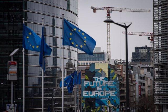 Banderas de la UE en Bruselas
