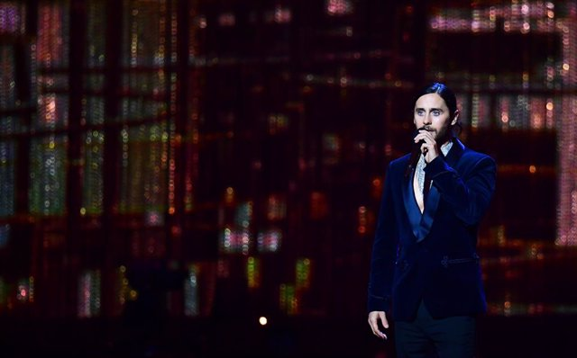 20 February 2019, England, London: US actor Jared Leto speaks on stage during the 39th Brit Awards at the O2 Arena. Photo: Victoria Jones/PA Wire/dpa