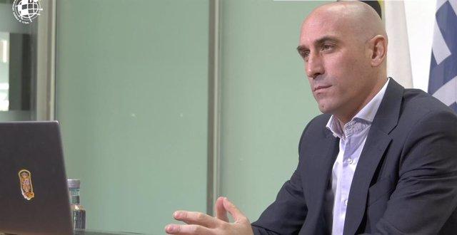 El presidente de la Real Federación Española de Fútbol (RFEF), Luis Rubiales, en la videoconferencia para analizar el futuro de las competiciones europeas en 2020