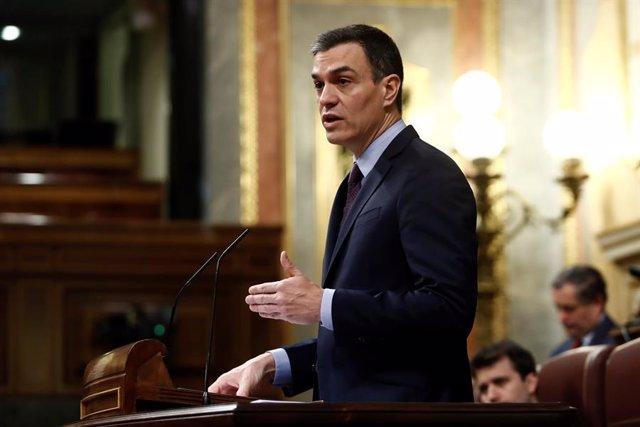 El president del Govern central, Pedro Sánchez, al Congrés dels Diputats per explicar la declaració de l'estat d'alarma i les mesures per pal·liar les conseqüències de la pandèmia, Madrid (Espanya), 18 de febrer del 2020.
