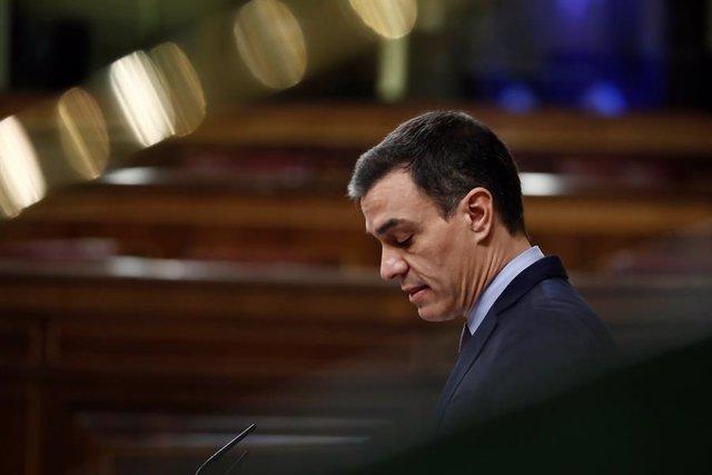 El president del Govern central, Pedro Sánchez, durant la seva compareixença al Congrés dels Diputats per explicar la declaració de l'estat d'alarma i les mesures per pal·liar la pandèmia del coronavirus, Madrid (Espanya), 18 de març del 2020.