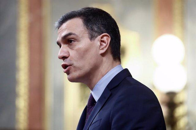 El president del Govern central, Pedro Sánchez, al Congrés dels Diputats, Madrid (Espanya), 18 de març del 2020.