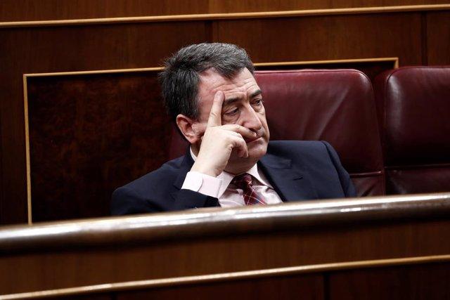 El portavoz del PNV, Aitor Esteban, durante la intervención del presidente del Gobierno, Pedro Sánchez