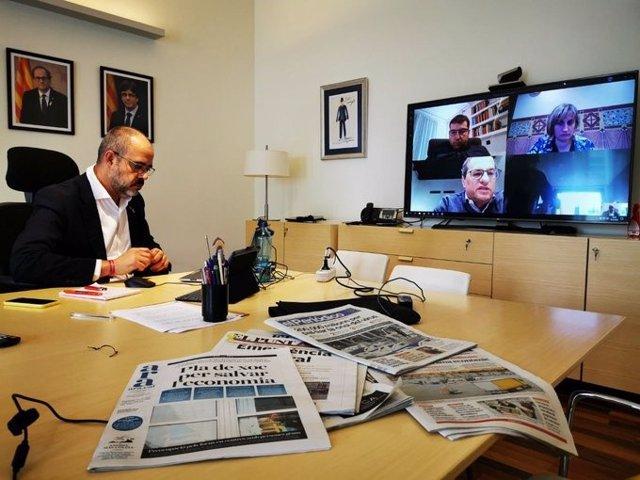 El conseller d'Interior de la Generalitat, Miquel Buch, en reunió telemàtica amb membres del Govern, el 18 de març de 2020.