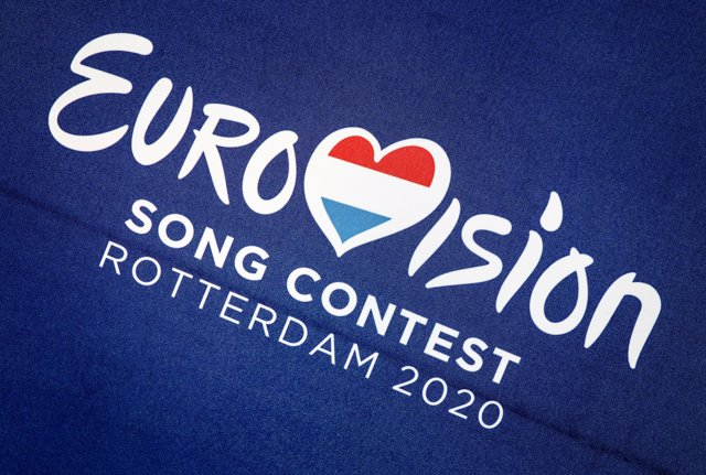 30 August 2019, Netherlands, Rotterdam: Logo of the Eurovision Song Contest after announcement for the Eurovision Song Contest 2020. The Dutch port of Rotterdam will host the next Eurovision Song Contest (ESC). Photo: Koen Van Weel/ANP/dpa