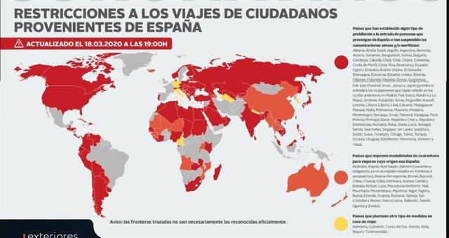 Países que impiden la entrada de españoles