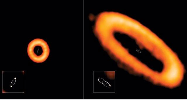 Descubren extrañas órbitas en discos planetarios de estrellas binarias