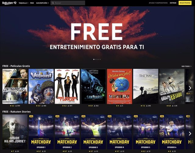 Películas y series gratis en Rakuten TV
