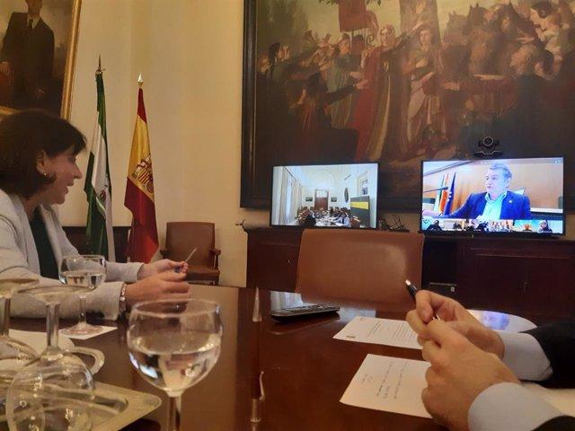La delegada del Gobierno en Andalucía, Sandra García, en la reunión por videoconferencia del Comité de Coordinación de Seguridad por el coronavirus