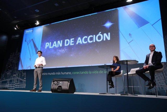 El presidente ejecutivo de Telefónica, José María Álvarez-Pallete, en la presentación del nuevo plan de acción de la compañía en noviembre de 2019