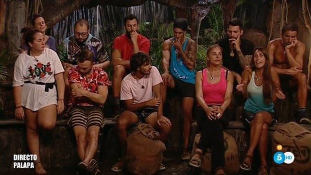 Imagen de los concursantes de Supervivientes  en la palapa