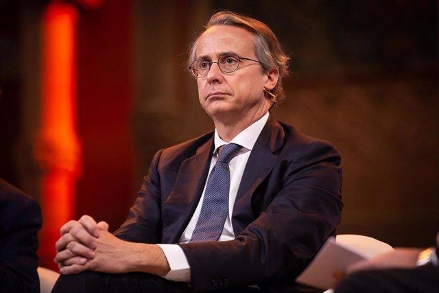 El president del Cercle d'Economia, Javier Faus, durant la presentació del BforPlane, a Barcelona (Espanya), a 30 de gener de 2020.
