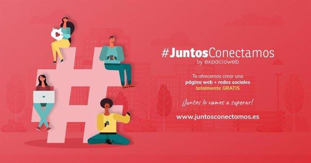 Cartel de la campaña '#JuntosConectamos' de Expacioweb