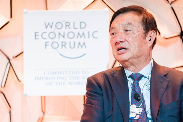 "HANDOUT - 21 January 2020, Switzerland, Davos: Chief Executive Officer of Huawei Technologies Ren Zhengfei speaks during ""the A Future Shaped by a Technology Arms Race"" session at the 50th World Economic Forum Annual Meeting. Photo: Manuel Lopez/World Eco"