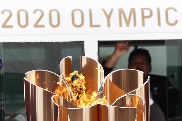 20 March 2020, Japan, Matsushima: The Olympic Flame is pictured during its arrival ceremony at Japan Air Self-Defense Force Matsushima Air Base. Photo: Rodrigo Reyes Marin/ZUMA Wire/dpa