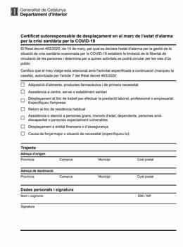 Certificat autorresponsable' creat pel Govern per a desplaçaments durant el confinament.