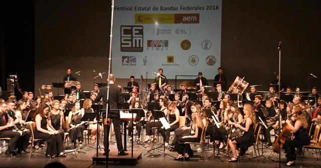 Músicos en el Festival Estatal de Bandas Federales, organitzado por la CESM.