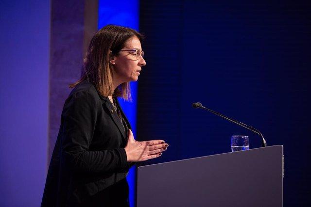 La consellera de Presidència i portaveu del Govern, Meritxell Budó, en roda de premsa posterior al Consell Executiu en el Palau de la Generalitat, a Barcelona (Espanya), a 18 de febrer de 2020.