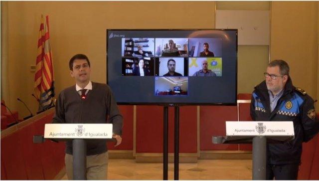 L'alcalde d'Igualada, Marc Castells, en roda de premsa telemàtica