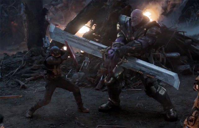 Capitán América contra Thanos en Vengadores: Endgame