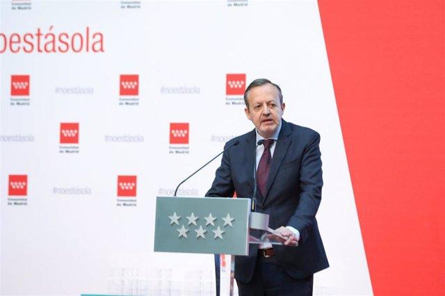 Imagen de recurso del consejero de Políticas Sociales, Familias, Igualdad y Natalidad de la Comunidad de Madrid, Alberto Reyero.