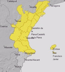 Avisos por lluvias en la Comunitat Valenciana