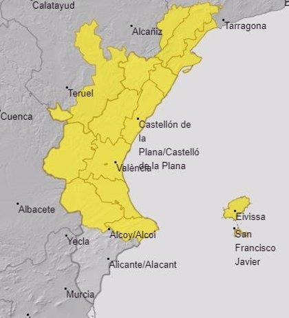 La Comunitat Valenciana está en aviso amarillo este domingo por lluvias localmente fuertes y tormentas ocasionales